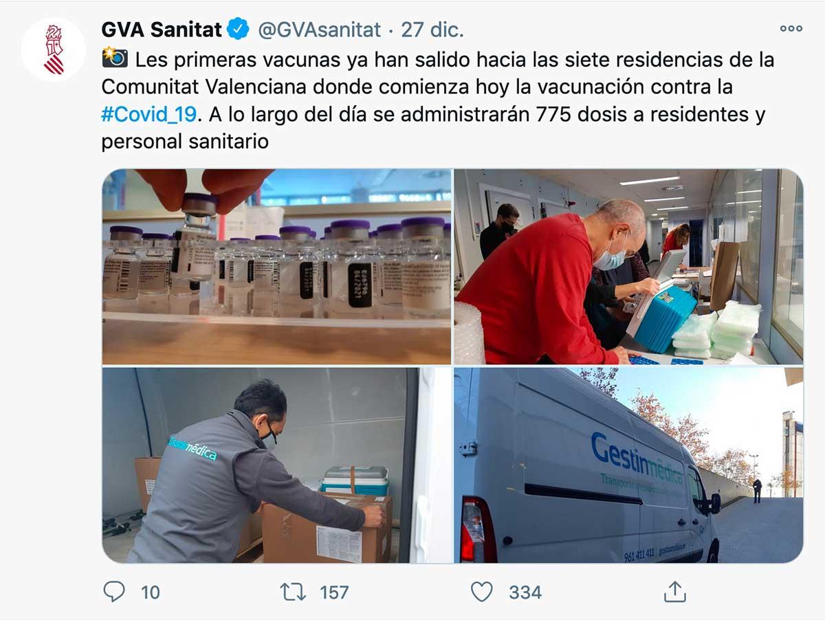 Twitter GVA Sanitat sobre reparto vacunas Covid-19